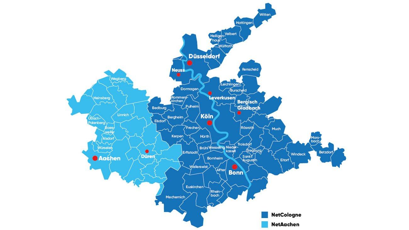 Karte des Verbreitungsgebietes von NetCologne/NetAachen